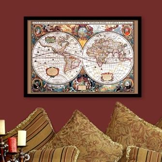 antikt verdenskort i ramme