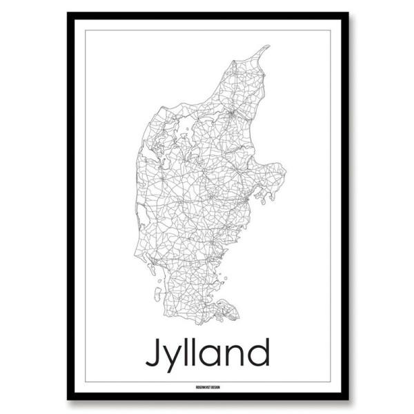 kort over Jylland