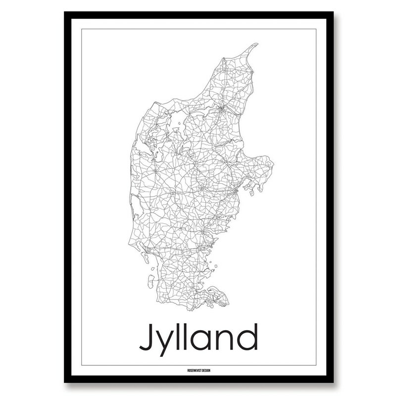 Kort Over Jylland Smuk Rosendahl Plakat Kort Over Jylland