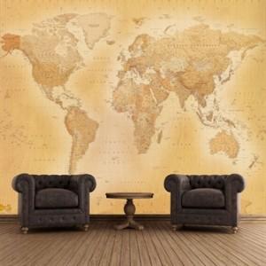 Antikt verdenskort - fototapet