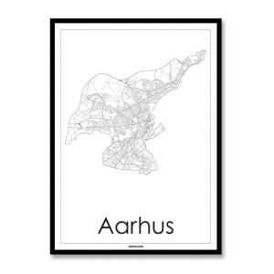 Kort over Aarhus - plakat