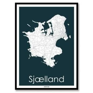 Kort over Sjælland - plakat