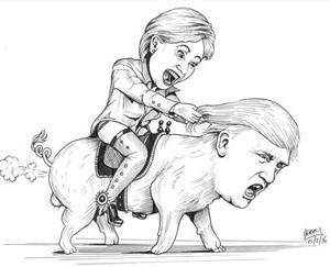 Hillary rider på Donald Trump